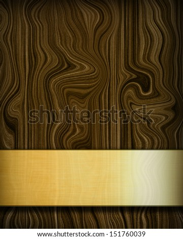 Wood texture with a golden panel with room for text - stock photo