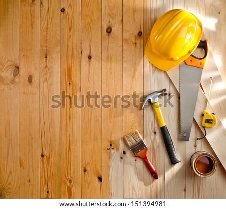 Wood Texture Construction Tools Helmet Paint Stock Photo Royalty