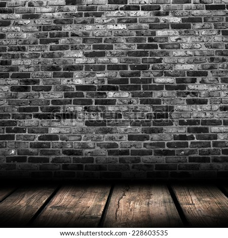 wood textured backgrounds in a room interior on the brick background - stock photo