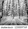 wood textured backgrounds in a room interior on the forest winter backgrounds - stock photo