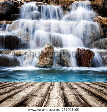 wood textured backgrounds in a room interior on the waterfallt backgrounds  - stock photo
