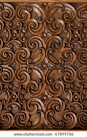 Wood Thai pattern handmade wood carvings. - stock photo