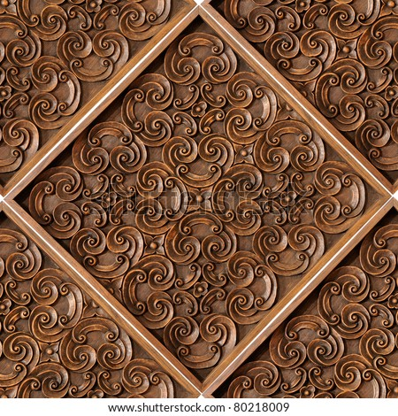 Wood Thai pattern Handmade wood carvings. Chiangmai Thailand - stock photo