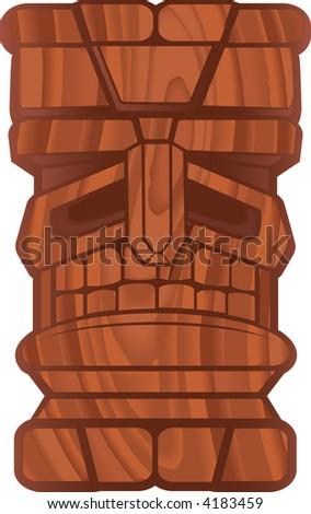 Wood Tiki - stock photo