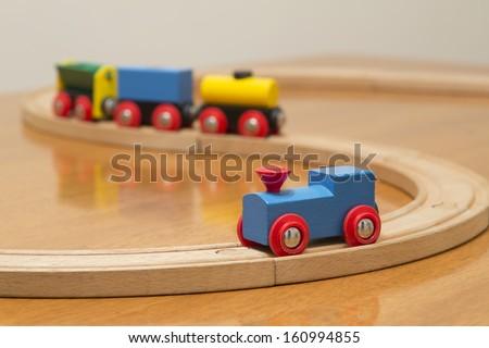 wood toy train set - stock photo