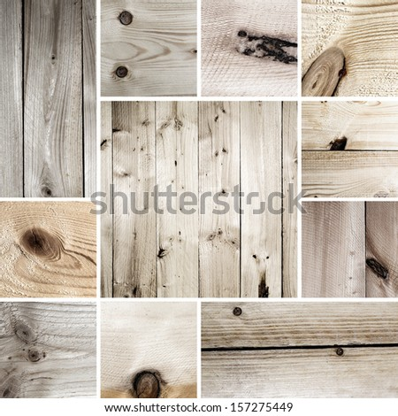 Wood tree board texture pattern set collage - stock photo