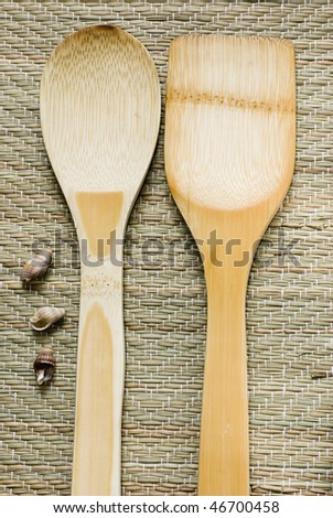 Wood utensils for kitchen with selective focus and top view - stock photo
