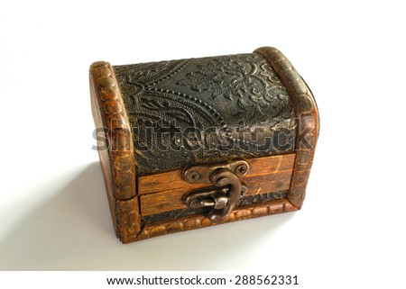 wood vintage lock box, isolation photo stock