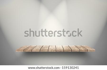 Wood vintage shelf on the wall - stock photo