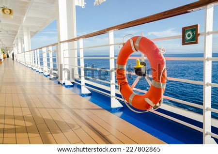 wood walkway around around cruise deck - stock photo