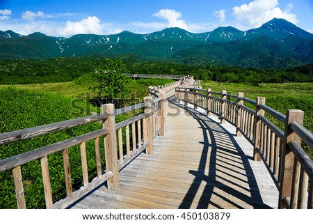 Wood walkway in Five Lake and mountain at Shiretoko, Hokkaido, Japan