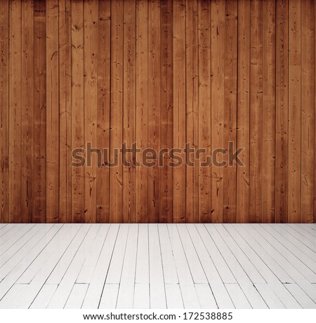 wood wall and floor - stock photo