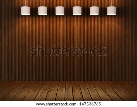 wood wall and floor with lamps - stock photo