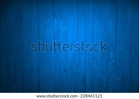wood wall blue background - stock photo