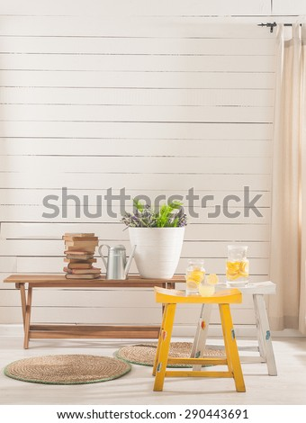 wood wall interior plan  - stock photo
