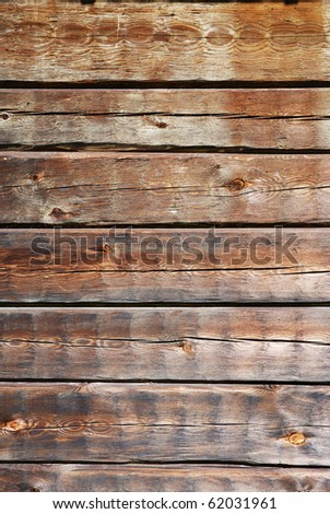 Wood wall is made of boards. This is the timber background of weathered planks with deep cracks. - stock photo