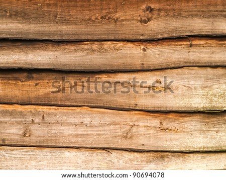 Wood wall texture from old barn - stock photo
