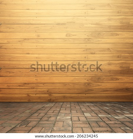 Wood walls and concrete brick floor for text and background  - stock photo