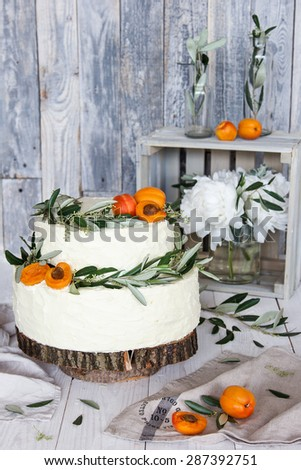 Wood wedding cake - stock photo