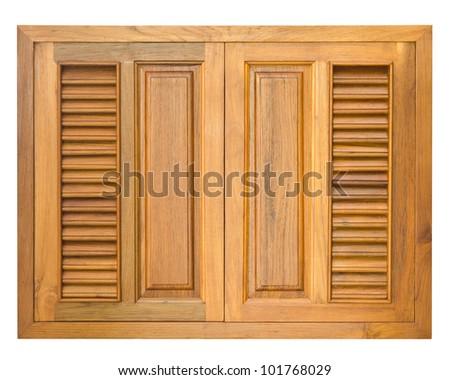 Wood window  isolate on white background - stock photo