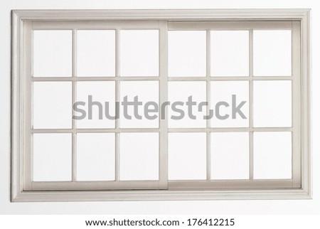 wood window isolated on white background - stock photo