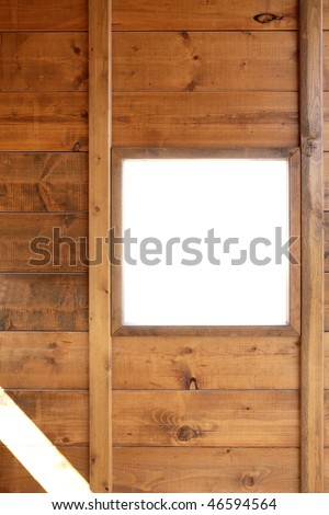 Wood window wall with square copyspace copy space - stock photo