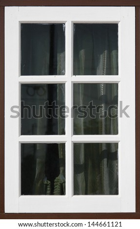 wood window with white and brown color - stock photo
