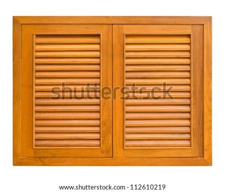 Wood windows of cabinet isolate on white background - stock photo
