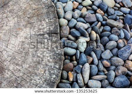 Wood with stone on background - stock photo