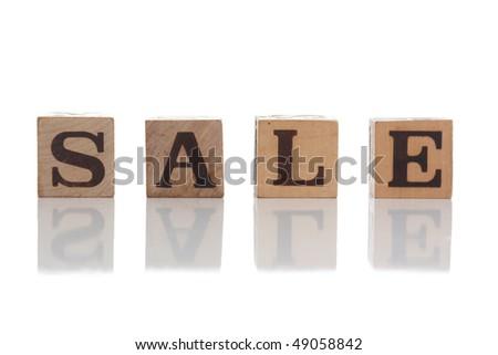 Wood word isolated on white - stock photo
