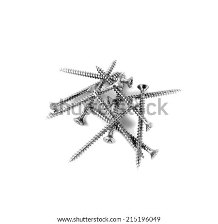 Wood Working Screws isolated over white - stock photo
