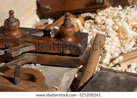 Wood working wood shavings  - stock photo