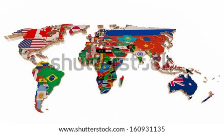 Wood world map flags - stock photo