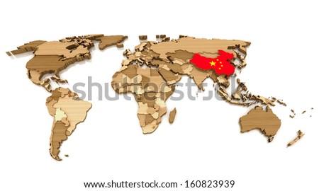 Wood World Map With China Flag - stock photo
