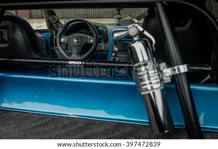 Woodbridge,NJ - May 2015: The Corvette Grand Sport as seen in Jetstream Blue. Interior view - stock photo