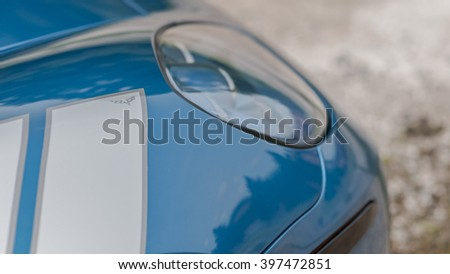 Woodbridge,NJ - May 2015: The Corvette Grand Sport as seen in Jetstream Blue. Top hood view  - stock photo