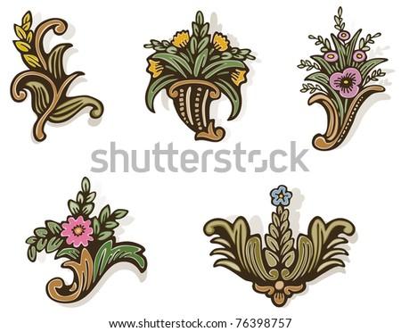 Woodcut Flowers Too - Raster Version - stock photo