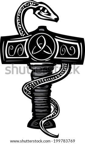Woodcut image of the Norse god Thor's Hammer entwined with a serpent. - stock photo