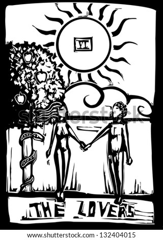 Woodcut image of the Tarot Card for the lovers - stock photo