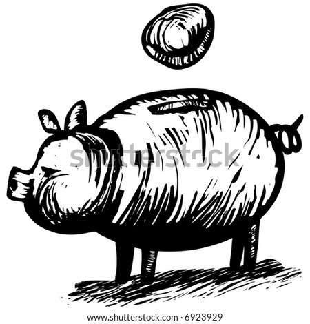 Woodcut Piggy Bank - financial concept for savings. Artwork was done woodcut / engraving style. - stock photo