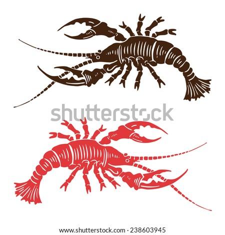 woodcut seafood icon - stock photo
