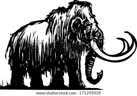 Woodcut style ancient wooly mammoth from the ice age. - stock photo