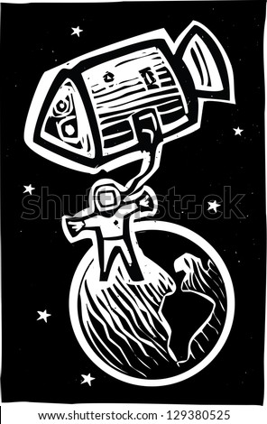 Woodcut style astronaut in orbit of the earth.