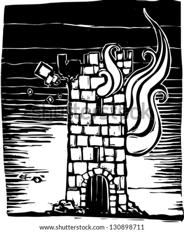 Woodcut style image of a burning castle tower