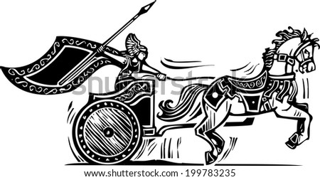 Woodcut style image of a Norse viking Valkyrie riding a chariot. - stock photo