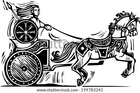 Woodcut style image of the Celtic heroine Brigid riding a chariot. - stock photo