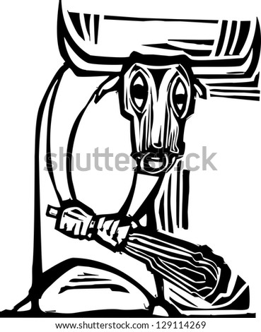 Woodcut style image of the mythological Minotaur