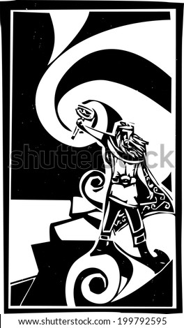 Woodcut style image of the Viking God Thor with swirling clouds. - stock photo