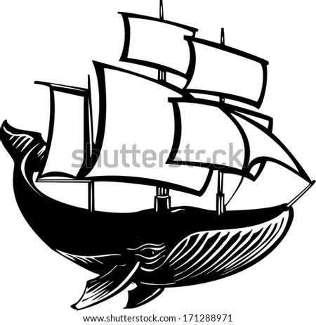 Woodcut style sail propelled baleen whale. - stock photo