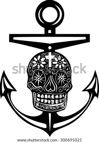 Woodcut style sea anchor with a Mexican Day of the Dead Skull - stock photo